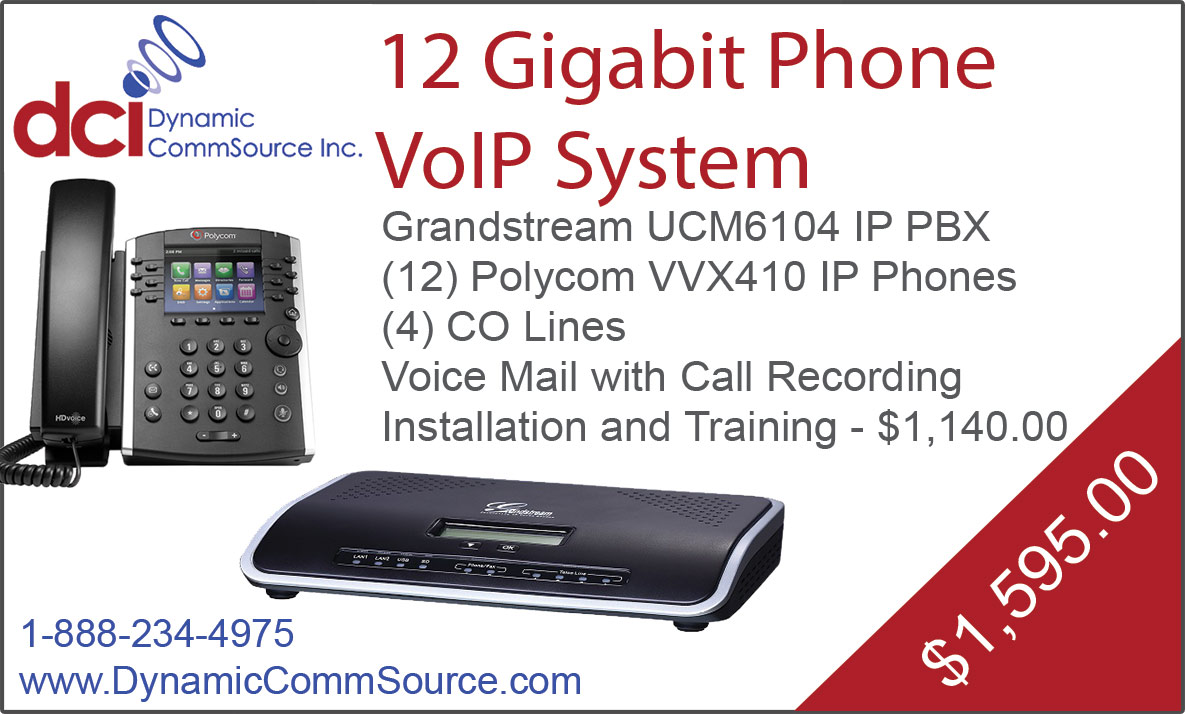 12 Gigabit Phone VoIP System - Grandstream UCM6104 IP PBX; (12) Polycom VVX410 IP Phones; (4) CO Lines; Voice Mail with Call Recording; Installation and Training - $1,140.00