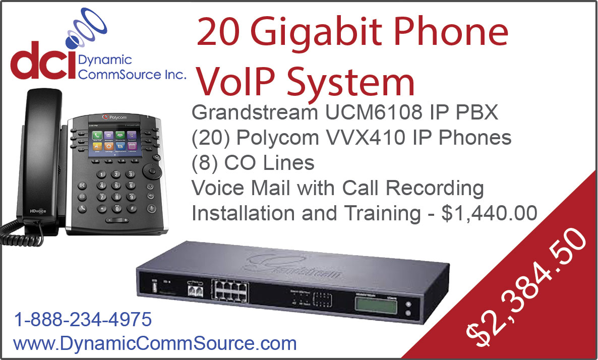 20 Gigabit Phone VoIP System - Grandstream UCM6108 IP PBX; (20) Polycom VVX410 IP Phones; (8) CO Lines; Voice Mail with Call Recording; Installation and Training - $1,440.00