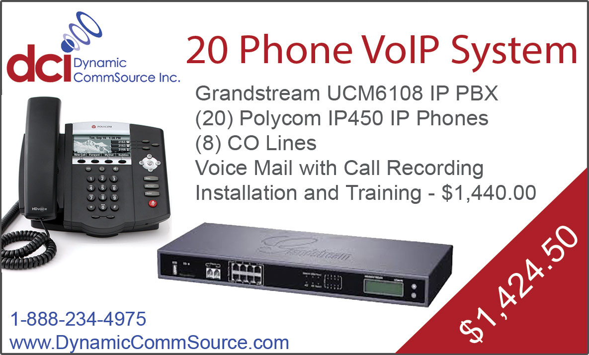 20 Phone VoIP System - Grandstream UCM6108 IP PBX; (20) Polycom IP450 IP Phones; (8) CO Lines; Voice Mail with Call Recording; Installation and Training - $1,440.00