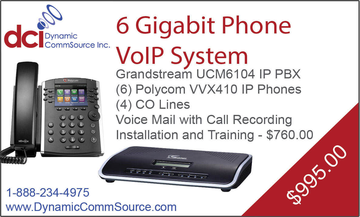 6 Gigabit Phone VoIP System - Grandstream UCM6104 IP PBX; (6) Polycom VVX410 IP Phones; (4) CO Lines; Voice Mail with Call Recording; Installation and Training - $760.00